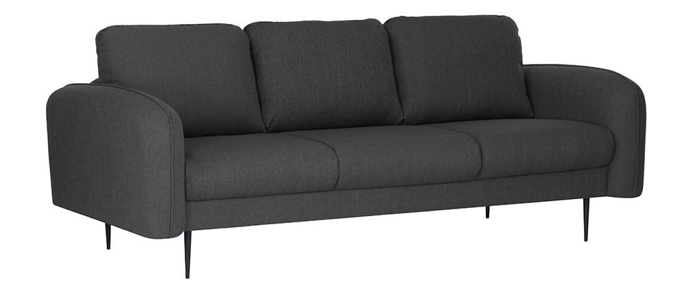Canapé design tissu gris foncé 3 places SIDI