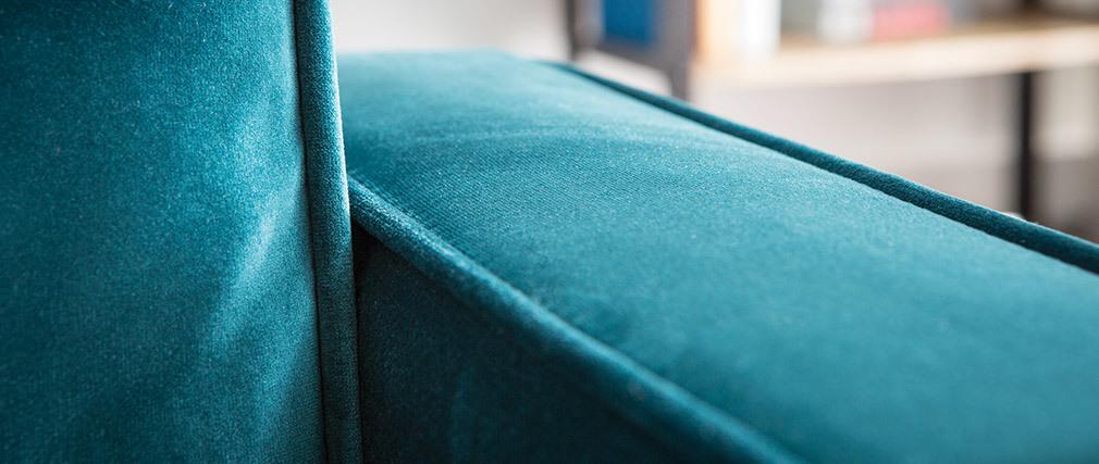 Canapé design velours bleu pétrole 3 places BROOKLYN