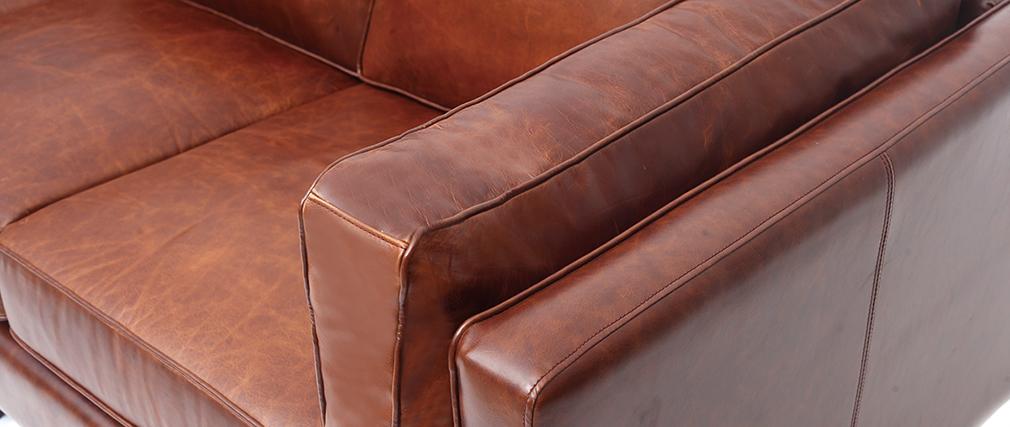 Canapé en cuir vintage 3 places marron CURTIS - cuir de vache