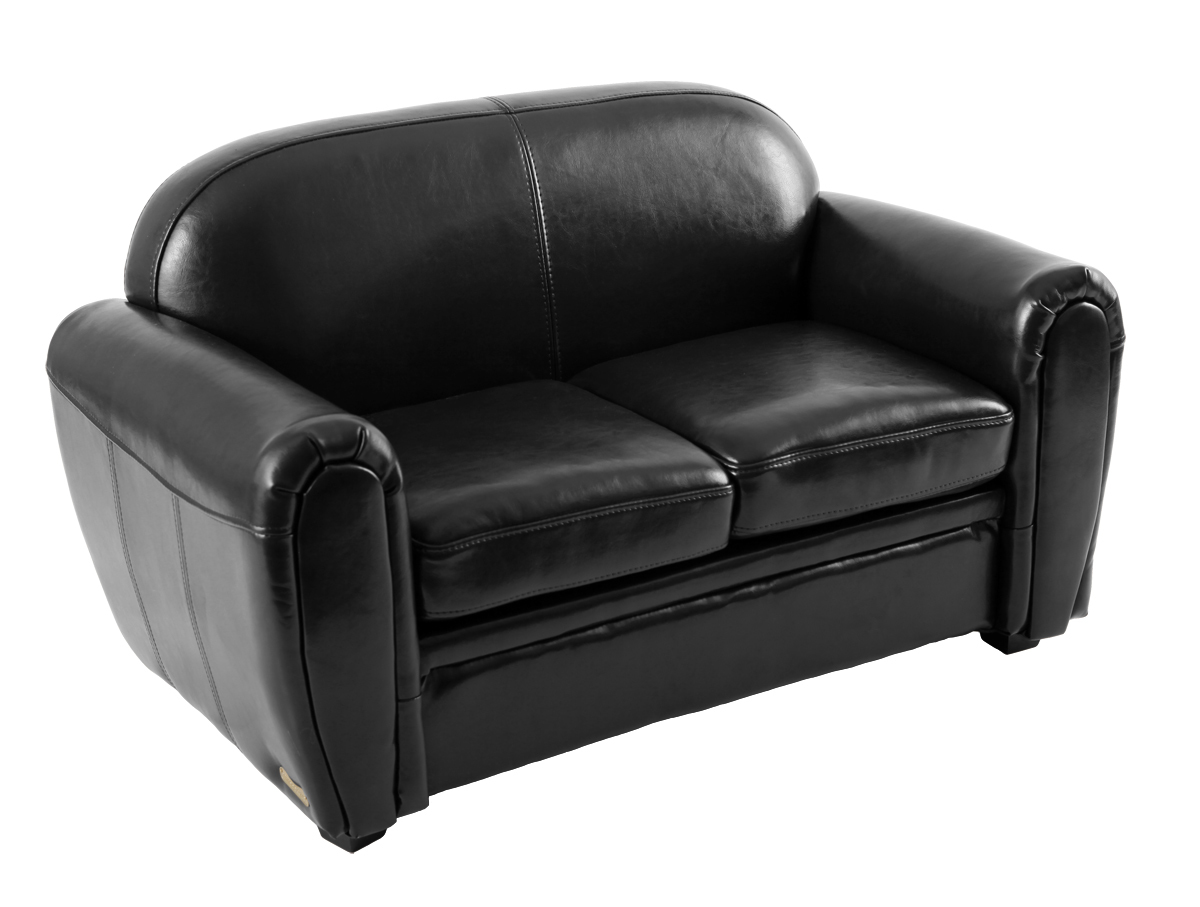 Canapé enfant 2 places en cuir noir - BABY CLUB