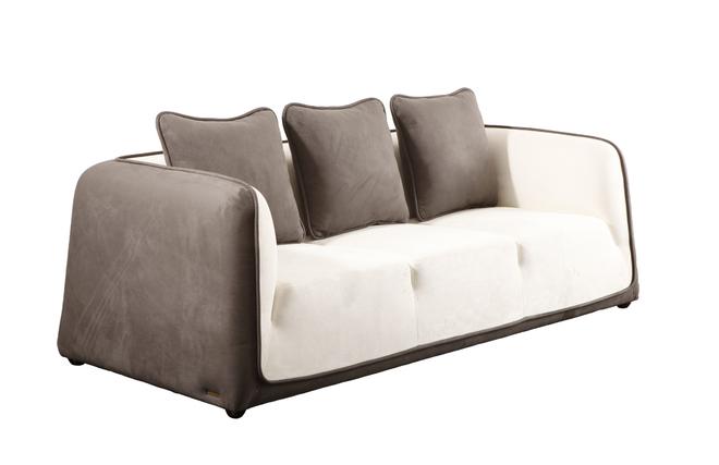 Canap moderne blanc et gris cendr en microfibre italia for Canape daim gris