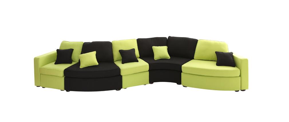 canap modulable 6 places forme vague noir et anis up to. Black Bedroom Furniture Sets. Home Design Ideas
