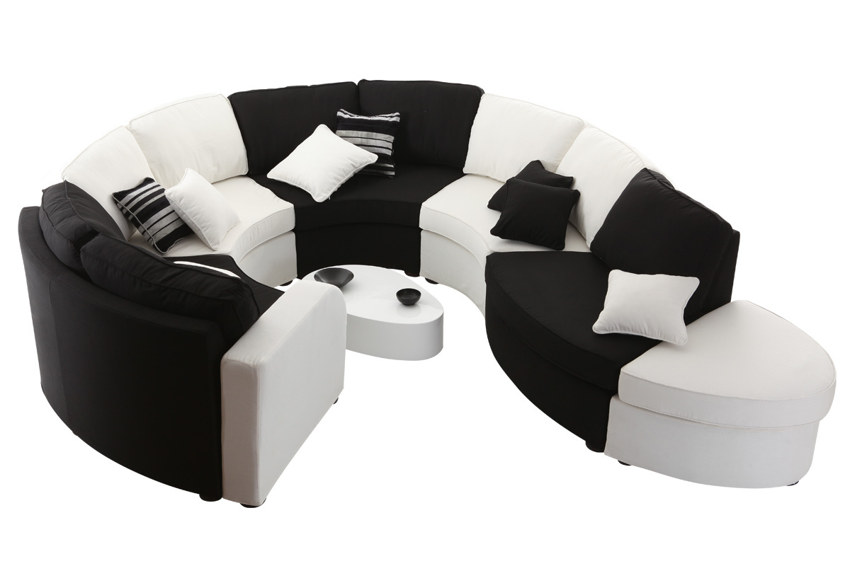 Canap modulable arrondi 10 places noir et blanc up to you for Canape 2 places arrondi