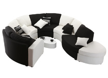Canapé modulable arrondi 10 places noir et blanc up to you