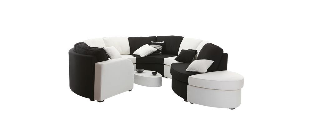 Canap modulable arrondi 10 places noir et blanc up to you for Canape 10 place