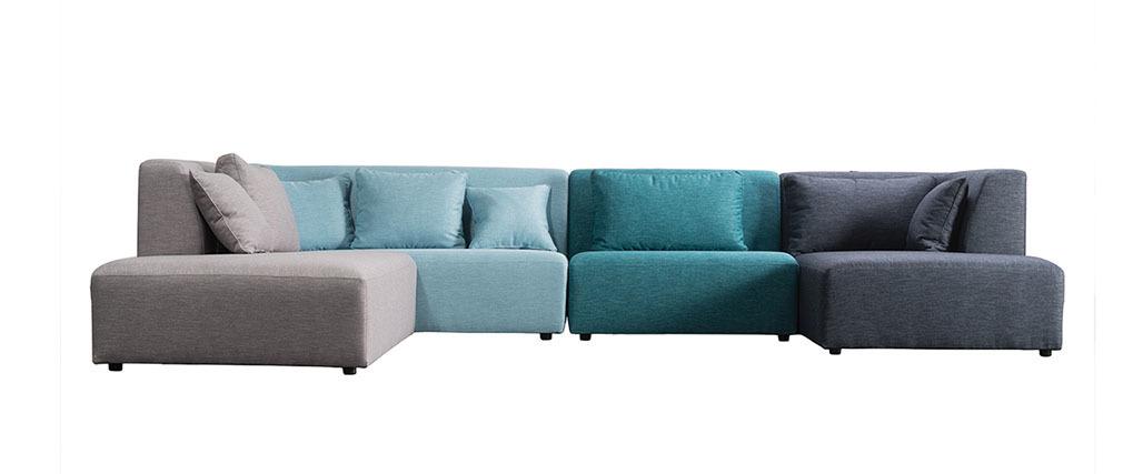 canap modulable design bleu 365cm compo 2 pluriel miliboo. Black Bedroom Furniture Sets. Home Design Ideas