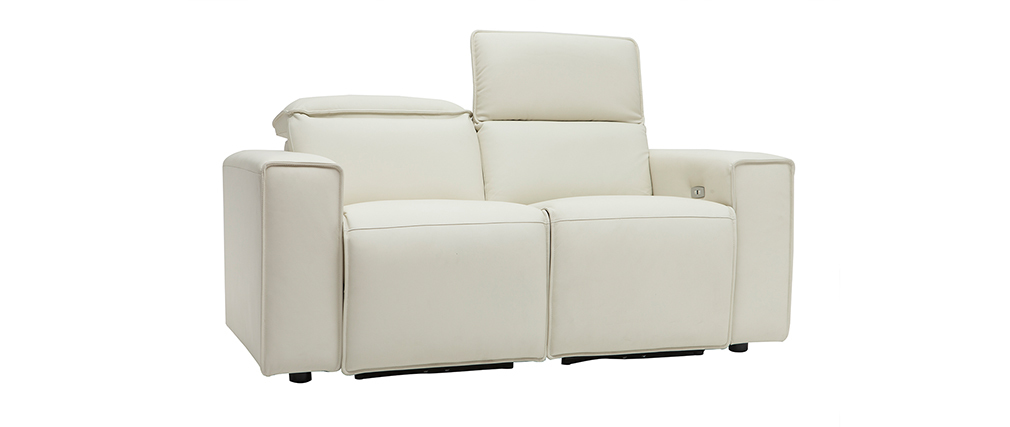 Canapé relax électrique en cuir blanc avec têtières ajustables RUIZ - cuir de vache