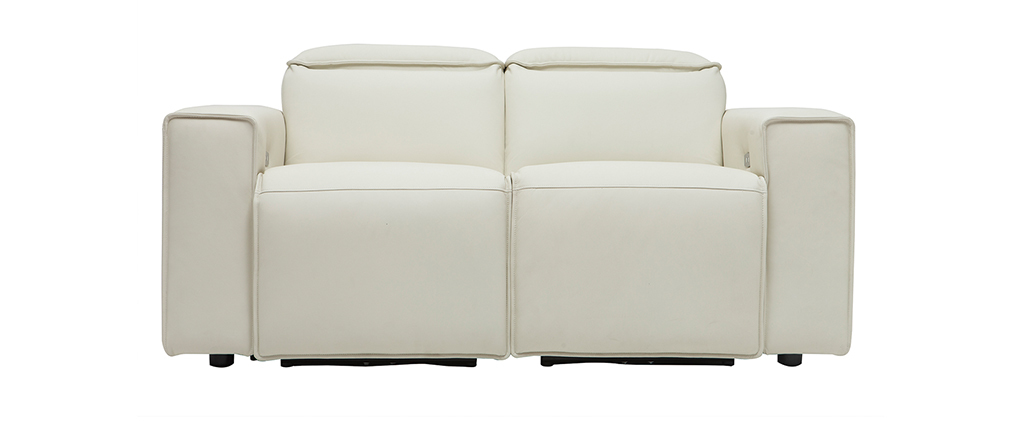 Canapé relax électrique en cuir blanc cassé avec têtières ajustables RUIZ - cuir de vache