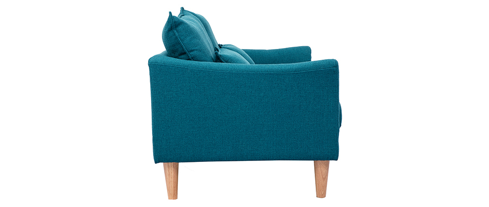 Canapé scandinave 2 places bleu canard KATE