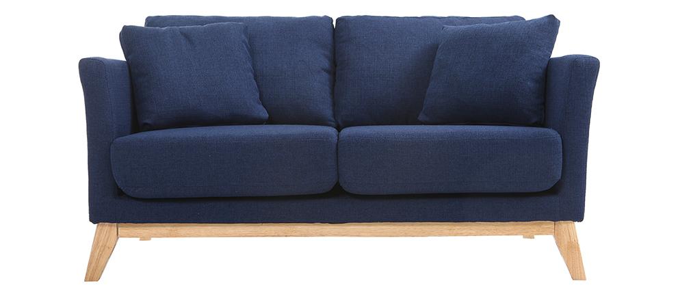Canapé scandinave 2 places bleu foncé déhoussable et pieds bois clair OSLO