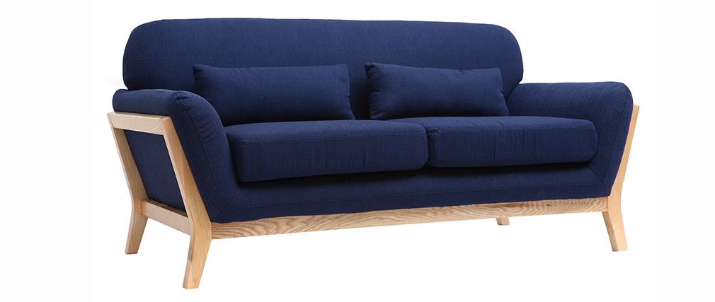 Canapé scandinave 2 places bleu foncé pieds bois YOKO