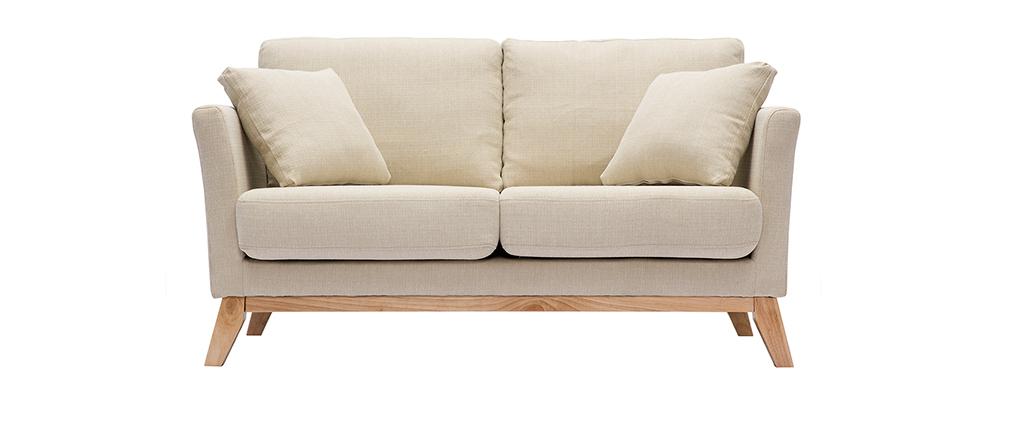 Canapé scandinave 2 places déhoussable beige OSLO