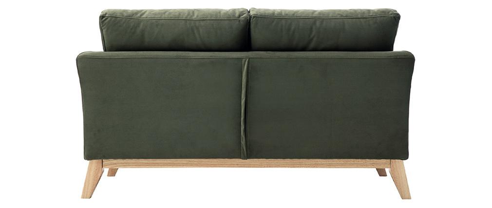 Canapé scandinave 2 places déhoussable effet velours kaki OSLO