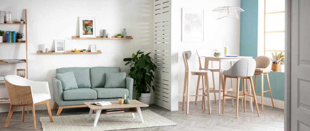 Canapé scandinave 2 places déhoussable vert lagon et pieds bois clair OSLO