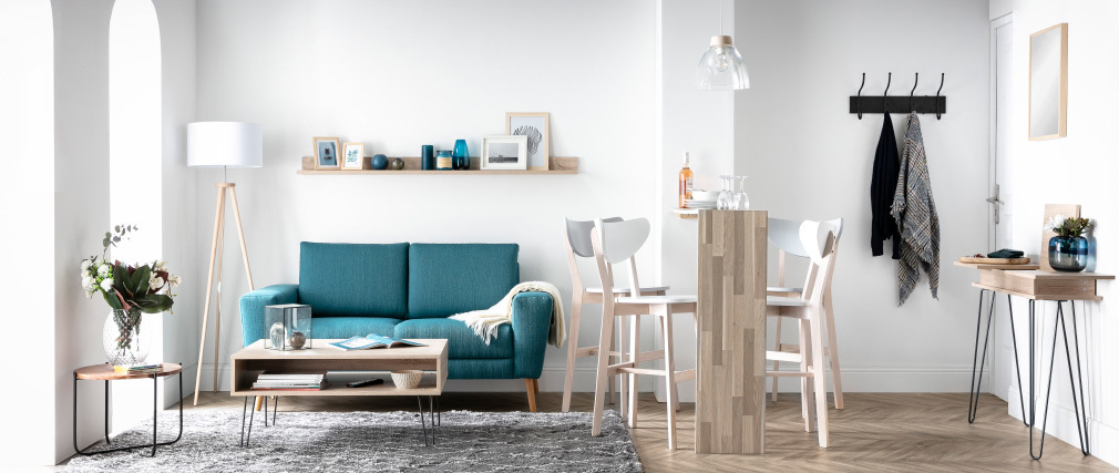 Canapé scandinave 2 places en tissu bleu canard MOCAZ - Miliboo & Stéphane Plaza