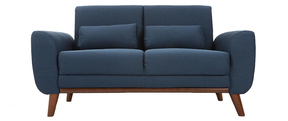 Canapé scandinave 2 places tissu bleu et noyer EKTOR