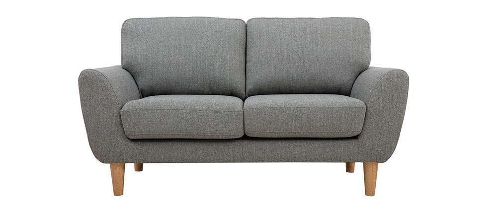Canapé scandinave 2 places tissu gris clair ALICE