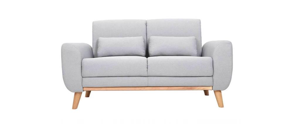 Canapé scandinave 2 places tissu gris et bois clair EKTOR