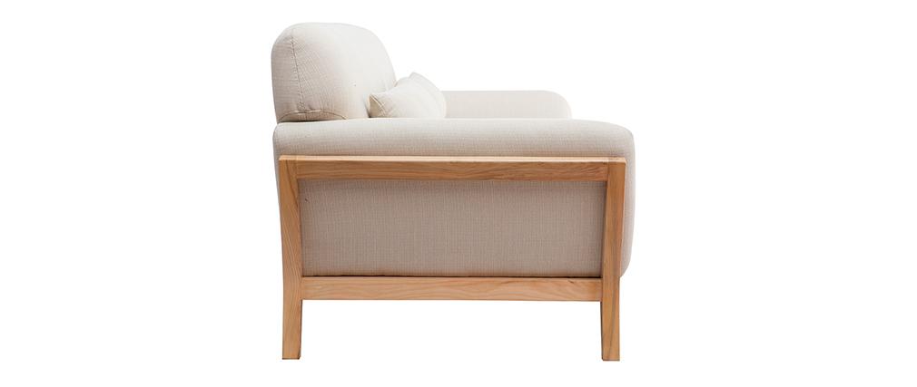 Canapé scandinave 3 places beige pieds bois YOKO