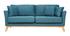 Canapé scandinave 3 places bleu canard déhoussable pieds bois OSLO