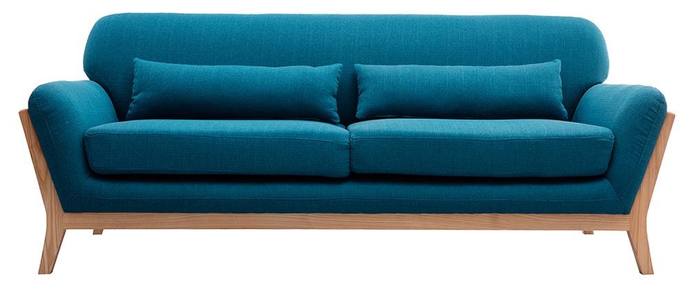 Canapé scandinave 3 places bleu canard pieds bois YOKO