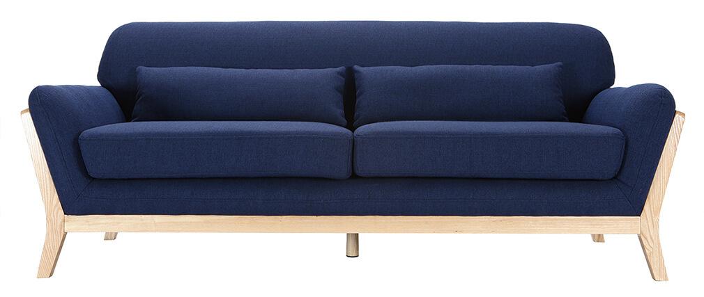 canap scandinave 3 places bleu fonc pieds bois yoko miliboo. Black Bedroom Furniture Sets. Home Design Ideas