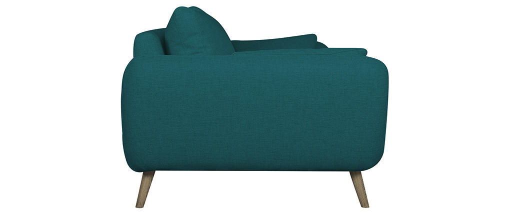 Canapé scandinave 3 places bleu paon CREEP