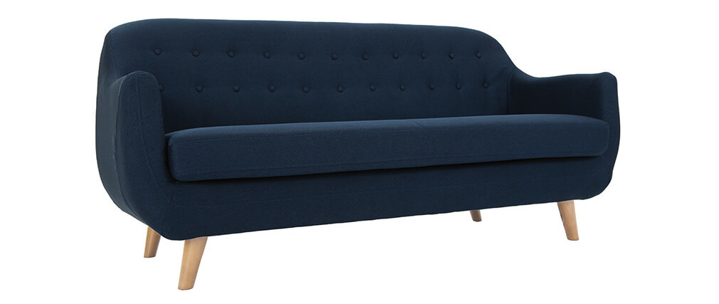 Canapé scandinave 3 places bleu pieds bois clair YNOK