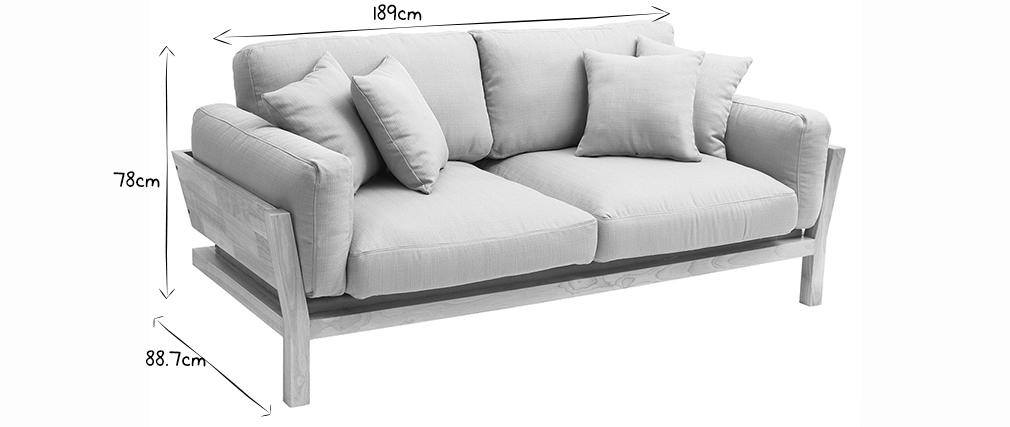 Canapé scandinave 3 places déhoussable blanc crème pieds bois KYO