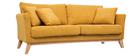 Canapé scandinave 3 places déhoussable tissu effet velours jaune moutarde OSLO