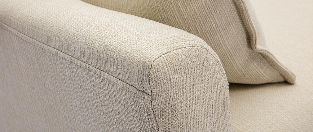 Canapé scandinave 3 places en tissu beige KATE