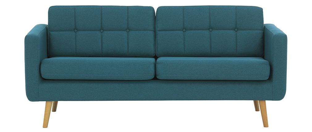 Canapé scandinave 3 places en tissu bleu canard et bois ELFE