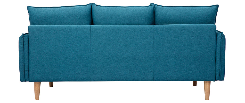 Canapé scandinave 3 places en tissu bleu canard HOLMS