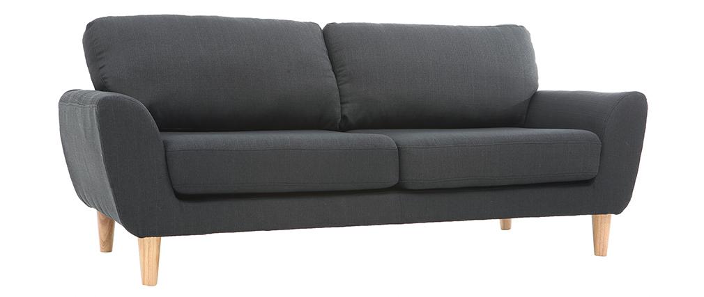 Canapé scandinave 3 places en tissu gris anthracite ALICE