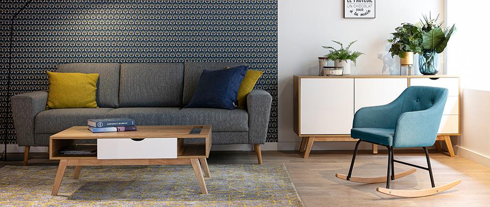 Canapé scandinave 3 places en tissu gris clair MOCAZ - Miliboo & Stéphane Plaza
