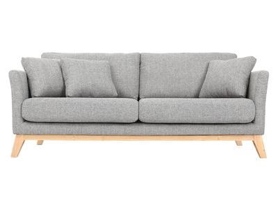grande vente 22150 be5c3 Canapé scandinave 3 places gris clair déhoussable pieds bois OSLO