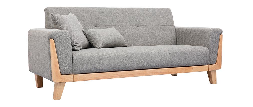 Canapé scandinave 3 places gris clair et bois FJORD