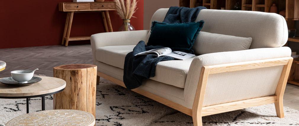 Canapé scandinave 3 places gris pieds bois YOKO