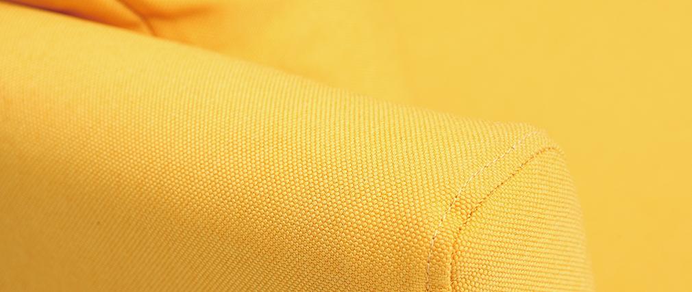 Canapé scandinave 3 places jaune déhoussable pieds bois OSLO