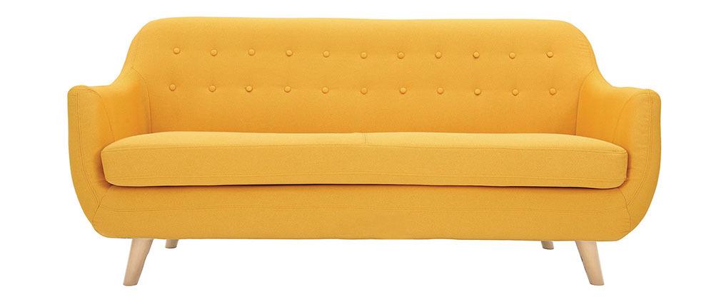 Canapé scandinave 3 places jaune pieds bois clair YNOK