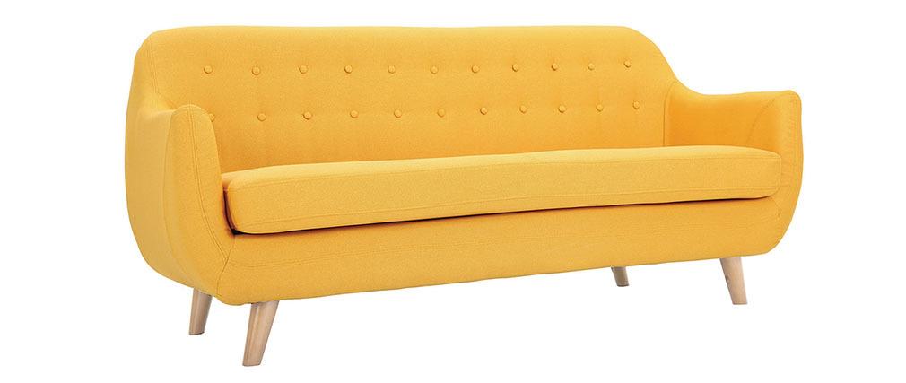 canap scandinave 3 places jaune pieds bois clair ynok miliboo. Black Bedroom Furniture Sets. Home Design Ideas