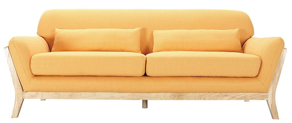 Canapé scandinave 3 places jaune pieds bois YOKO