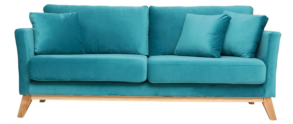 Canapé scandinave 3 places velours bleu azur pieds bois OSLO