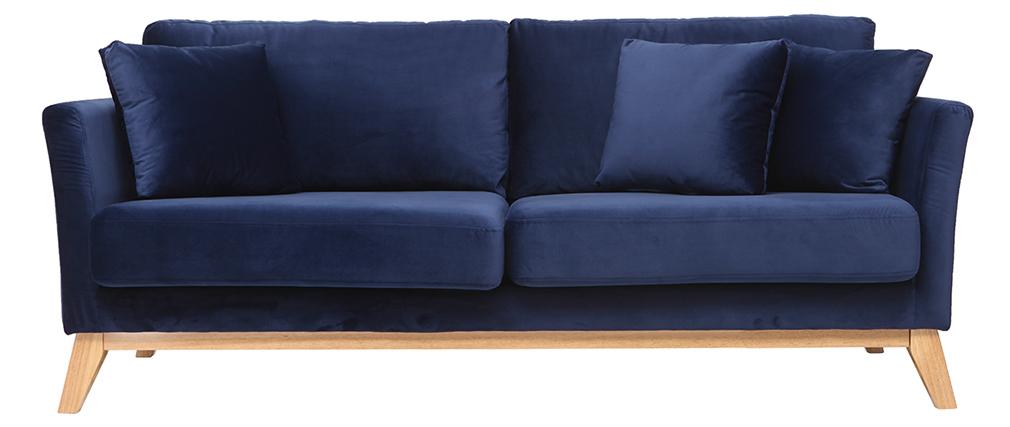 Canapé scandinave 3 places velours bleu nuit pieds bois OSLO