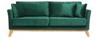 Canapé scandinave 3 places velours vert émeraude pieds bois OSLO