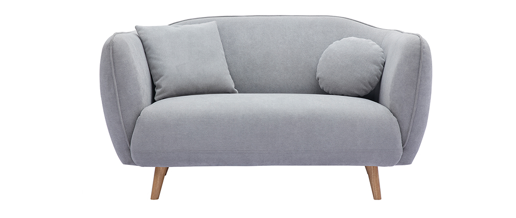 Canapé scandinave en tissu effet velours gris clair 2 places FOLK