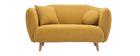 Canapé scandinave en tissu effet velours jaune moutarde 2 places FOLK