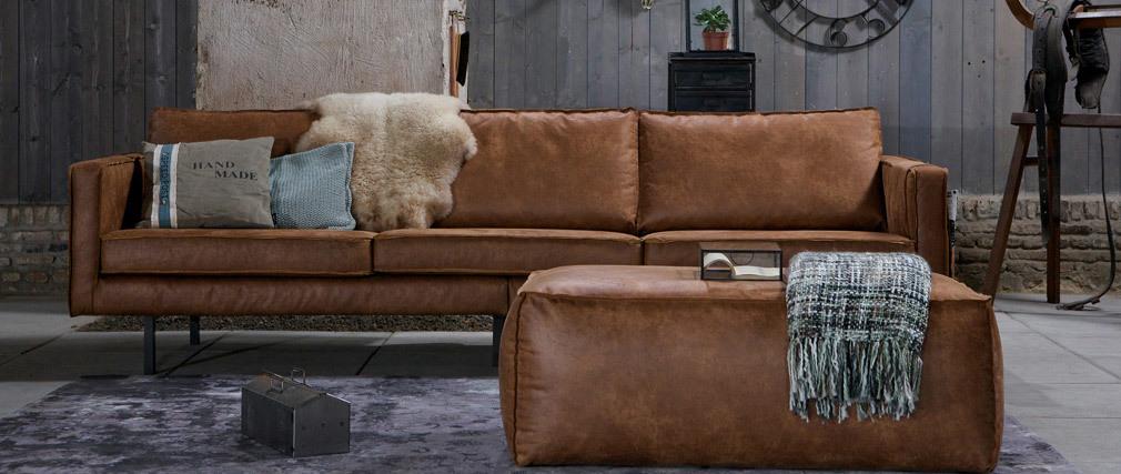 Canapé vintage cuir camel 4 places ASPEN - cuir de vache reconstitué
