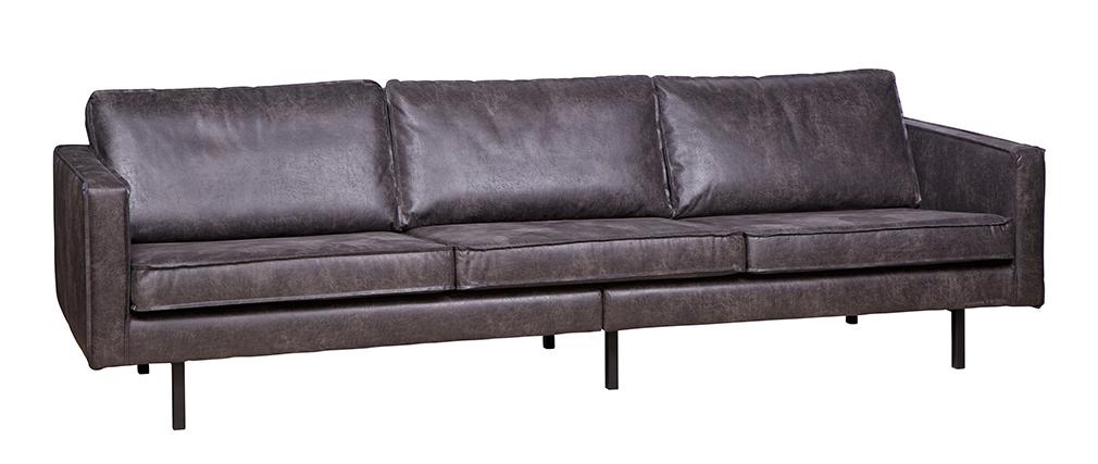 Canapé vintage cuir noir 4 places ASPEN - cuir reconstitué