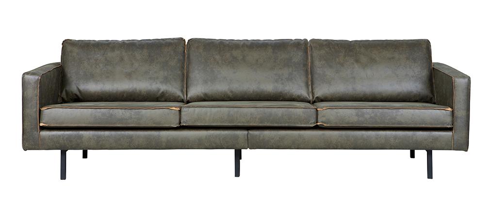 Canapé vintage cuir vert 4 places ASPEN - cuir de vache reconstitué